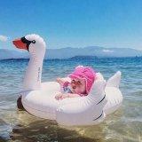 백색 백조 모양 팽창식 아기 아이 부유물 시트 수영 배 반지