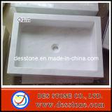 Lavabo blanco natural del mármol de la cultura y fregadero de mármol cultivado