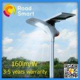 lampada di via solare 15W con l'angolo registrabile del comitato solare su una strada principale dei due gradi