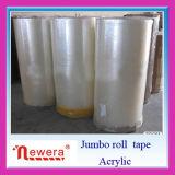 Rollo Jumbo BOPP goma adhesiva cinta de embalaje para la envoltura del producto