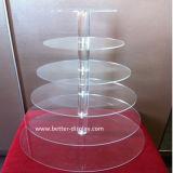 Présentoir clair de cuvette de gâteau de rangées de l'acrylique 6 (BTR-K3004)