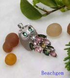 宝石類電気石の純銀製のペンダント(P0282)