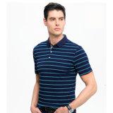 Teinture de fils de coton 100%Stripe Polo Shirt pour hommes