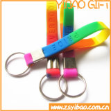 Silicone customizável Wristand com anel chave (YB-LY-K-02)
