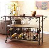 Fodable Cart Rolling Wood e Metal Wine Rack Acrílico Wine Glass Display