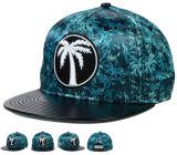 El panel de cuero negro Bill plano del borde 6 se divierte el casquillo del sombrero del Snapback