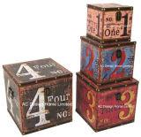 S/4 Doos van de Boomstam van de Opslag van de Druk Pu Leather/MDF van het Ontwerp van het Aantal van de Decoratie de Antieke Uitstekende Klassieke Vierkante Houten