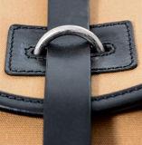 Мода Дизайн пользовательских Khaki Canvas смешайте рюкзак из натуральной кожи