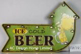 """Decoração Vintage Antique Emboss """"Bar beber Design da estrutura de metal e plástico Decoração de parede assinar W/Luz de LED"""
