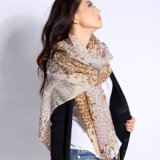 Refinado impreso digital bufanda de lana merino