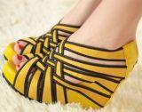 2012 de Hiel Sandals (Gele sy-C0393) van de Wig van de Aanpassing van de Kleur van het Suède van Korea