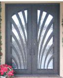 Современным двойной передней двери из кованого железа