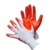 Оранжевый нейлон с покрытием трикотажные Woring нитриловые перчатки