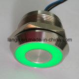 Interruptor capacitivo de aço inoxidável 12V verde iluminado de 25mm