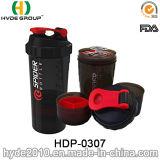 bottiglia di acqua di plastica dell'agitatore di BPA personalizzata 500ml liberamente, 2017 recentemente bottiglie dell'agitatore della proteina dei pp (HDP-0307)