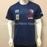 후원자 로고를 가진 관례에 의하여 승화되는 스포츠 클럽 감색 워밍업 t-셔츠