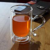 Personalizzare la tazza di vetro del succo di arancia della tazza della spremuta doppia arancione di vetro