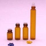 Fornecedor líder chinês 10ml vaso de perfume Roll-on 5 ml de vidro âmbar no frasco com rolo de aço inoxidável com esfera de rolete