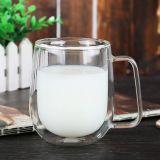 Personalizar a caneca de café de vidro do copo do leite da parede do dobro da caneca do vidro de leite