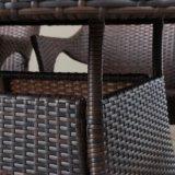 Multi-Brown oval de vime Conjunto de jantar ao ar livre