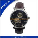 Het Mechanische Horloge van uitstekende kwaliteit van het Skelet met de Echte Band van het Leer