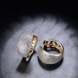 Populäre Edelstein-Schmucksache-realer Goldüberzogenes Kupfer-Klipp-Form-Ohrring