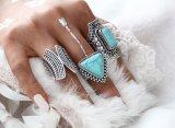 3PCS Boho型パンクの銀製カラー石のミディ指リング