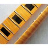 Tele collo della chitarra dell'acero di un pezzo della fiamma con l'intarsio del blocco