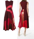 A anreden - Zeile rotes Burgunder-aufgeteiltes gemeinsames Kleid