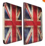 """카드 구멍에 iPad 공기 iPad 5 9.7를 위한 최신 판매 Retro 미국 영국 깃발 대 손가락으로 튀김 덮개 가죽 상자 """""""