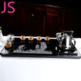 Granito natural pedra negra esculpir a bandeja de chá