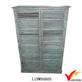 Scaffale per libri di legno dello scaffale di legno blu elegante misero del paese