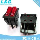 El poder de bloqueo de E/S 4 pines Micro Interruptor de botón con la luz de 16 a 250 VAC.