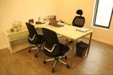 Mesa de escritório de porta e gabinete de vidro