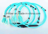 8 MPO-LC de fibres OM3 Corning Cordons de brassage à fibre optique