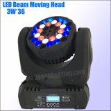 LED 36*3W 이동하는 맨 위 가벼운 세척 광선 단계 빛