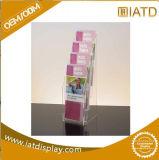 Sauter vers le haut le bijou acrylique annonçant l'étalage cosmétique de stand portatif au détail en plastique de boucle de crémaillère de tuile de Pegboard de lunetterie de mémoire de bijou de montre