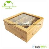 Rectángulo de almacenaje de bambú del bolso de té del rectángulo con la cubierta de acrílico