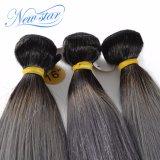 Волосы корня бразильского серебра волос девственницы прямые черные