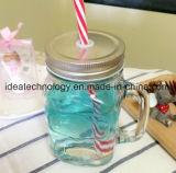 Alto vaso di vetro di vetro libero del vaso di muratore con il coperchio del metallo