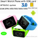 Telefone esperto do relógio da tela colorida com ranhura para cartão G11 de SIM