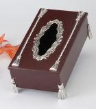 Grande argento placcato con la casella di legno del tessuto (BW15828DON-1H)