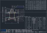 Robinet à tournant sphérique de bride de l'acier inoxydable 3-PC