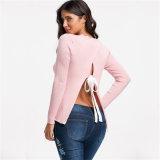 Nova chegada moda Outono tricotado soltas sexy camisola da mulher de volta Abrir
