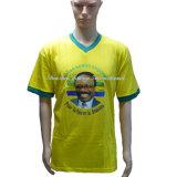 Vの首が付いている卸し売り男女兼用の昇進の黄色いTシャツ