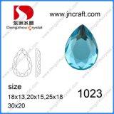 Forma de pera aguamarina posterior plana piedras de cristal de espejo (pueden perforar agujeros) de Accesorio de joyas
