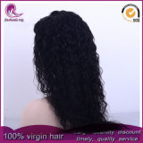 Malasia el pelo largo rizado Virgen frente encaje peluca