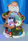 """10 """" bonhomme de neige Insided LED avec la rotation des figurines et Santa Insided 9""""conduit avec des figurines de rotation"""