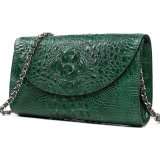 Leistungsfähige handgemachte grüne echte Krokodil-Haut-Leder-Handtasche mit Metallkette