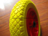 Metal RimのWheelbarrow頑丈な3.50-8 Yellow PU Wheels